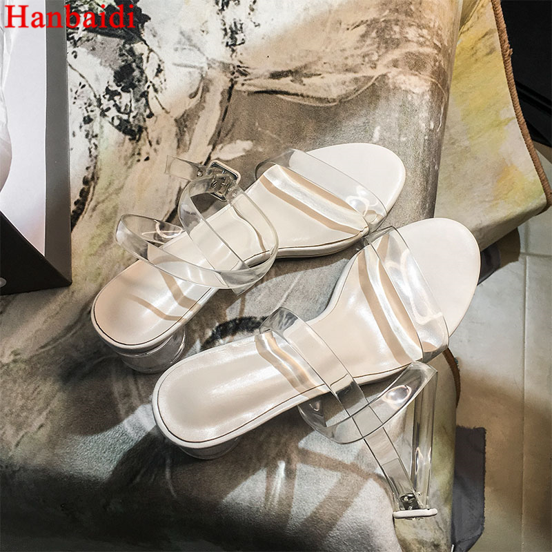цена на Hanbaidi Sexy Pvc Clear Transparent Women Sandals Runway Gladiator Sandals Clear Chunky High Heels Pumps Party Celebrity Shoes
