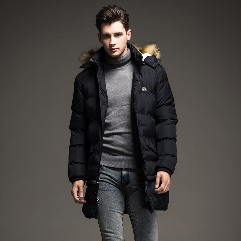 The length of the two men's 2015 winter men's wear padded jacket ...