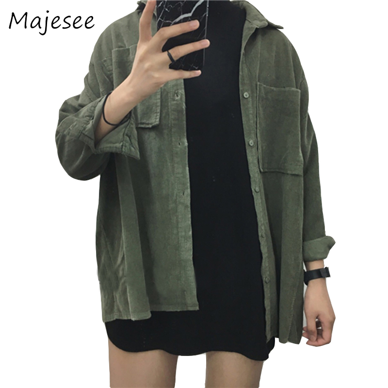 Corduroy Loose   Basic     Jackets   Ulzzang BF Style Students New Solid Color   Jacket   Womens Long Sleeve Outwear Women Pockets 2 Colors