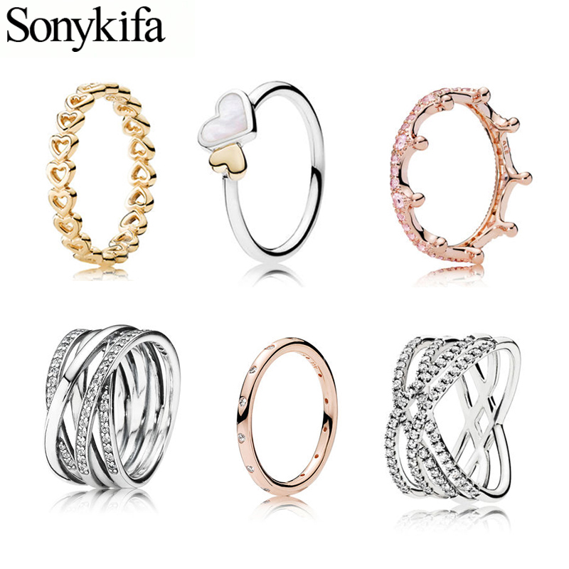 Sonykifa Hot Sale Silver Color Heart To Heart Pandora Rings For Women European Original Wedding Fashion Brand Ring Jewelry Gift