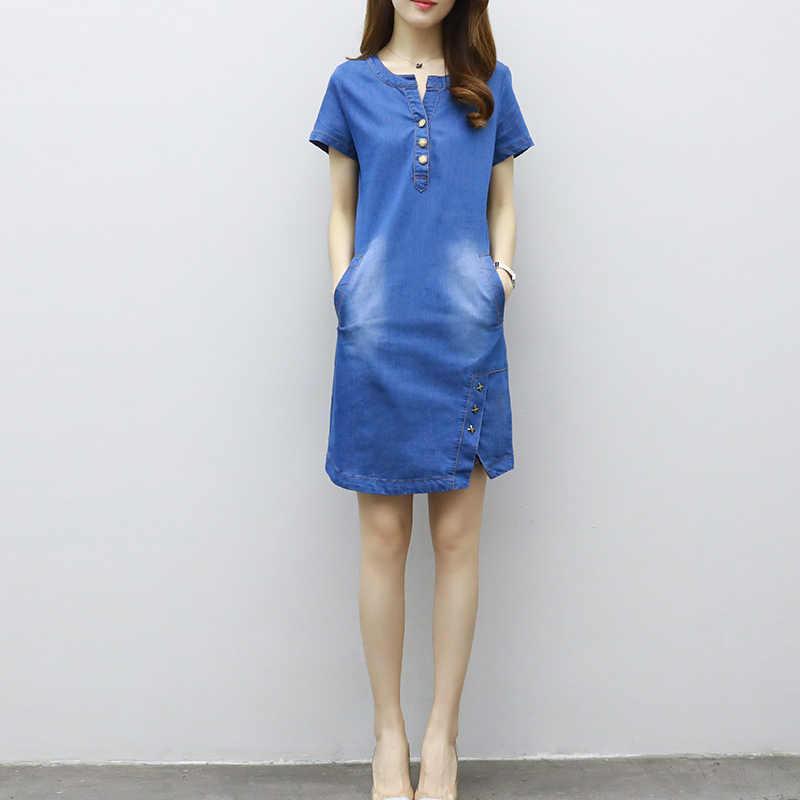 Плюс размер 3XL летняя тонкая, с коротким рукавом джинсовое платье женское 2018 корейское сексуальное платье с круглым вырезом женские тонкие джинсовые женские платья одежда