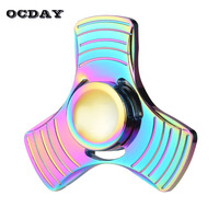 OCDAY Tri Fidget Spinner Metal Hand Spinner Zinc Alloy Puzzle EDC Finger Spinners Focus Anti Stress
