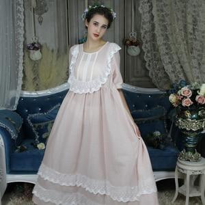 Image 5 - בציר אירופאי ארמון סגנון כתונת לילה ארוך כותנה הלבשת נשים תחרה לפרוע אפליקציות משובץ לילה ללבוש ויקטוריאני שמלת T296