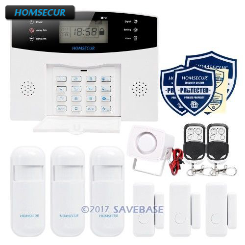 HOMSECUR Wireless&wired 433Mhz LCD GSM SMS Autodial Home Security Alarm System with French Voice Prompt цена