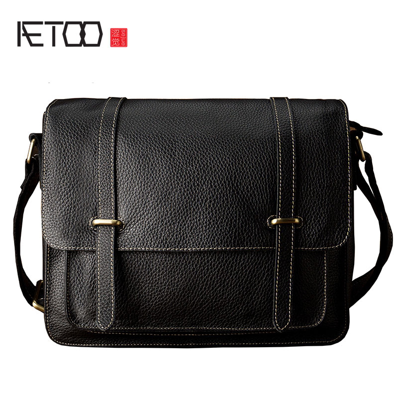 AETOO Leather simple shoulder Messenger bag men trend men bag leather cross section casual postman package aetoo new first layer of leather men s shoulder bag leather male package cross section oblique cross bag japanese and korean ver
