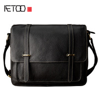 AETOO Leather simple shoulder Messenger bag men trend men bag leather cross section casual postman package