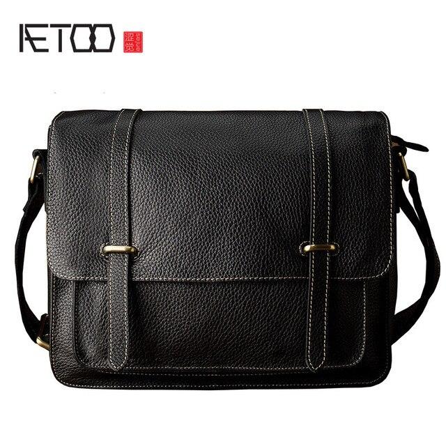 d99b33a4ff9 AETOO Leather simple shoulder Messenger bag men trend men bag leather cross  section casual postman package