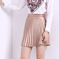 Faux PU Leather Pleated Skirt Above Knee Solid Color Short Style American And European Two Kinds Of Thickness
