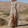 2016 Шифон Beach Dress Геометрические Женщины Lady Sexy Summer Boho Длиной Макси Торжеств и Вечеринок Дешевые Пляж Платья S ~ XL элегантный Vestidos