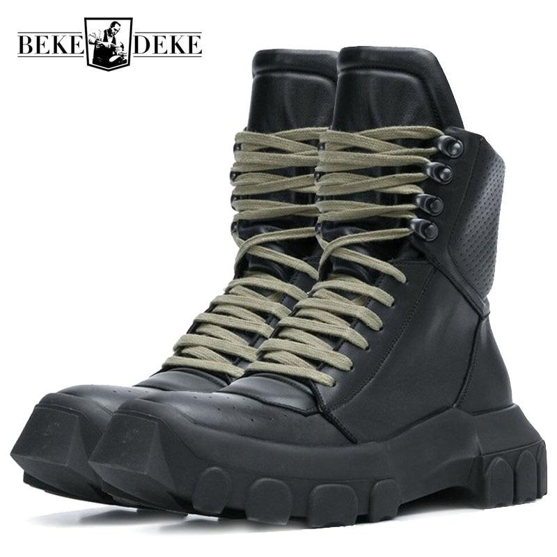 Hiver hommes à lacets militaires tactiques à lacets bottines Med talons plate-forme travail chaussures de sécurité armée en cuir véritable bottes Homme