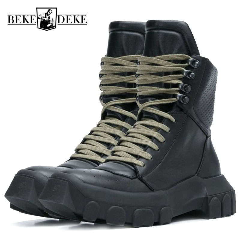 Winter Men Lace Up Military Tactical Lace Up Ankle Boots Med Heels Platform Work Safety Shoes Army Genuine Leather Boots Homme