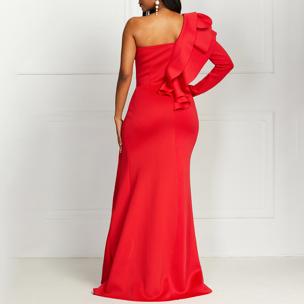African Style Elegant Party Sexy Evening Women Long Dresses One Shoulder Bodycon Split Female Ruffles Maxi Red Dress Plus Size 5