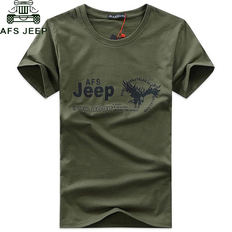 2018 AFS JEEP Brand Military   T     Shirt   Men Clothing Short Sleeve O Neck   T  -  shirts   Summer Dress TShirt High Quality Men Tops Tees