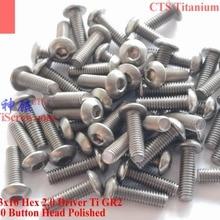 Титановый винт M3x10 ISO 7380 с шестигранной головкой 2,0 отвертки Ti GR2 полированный 25 шт