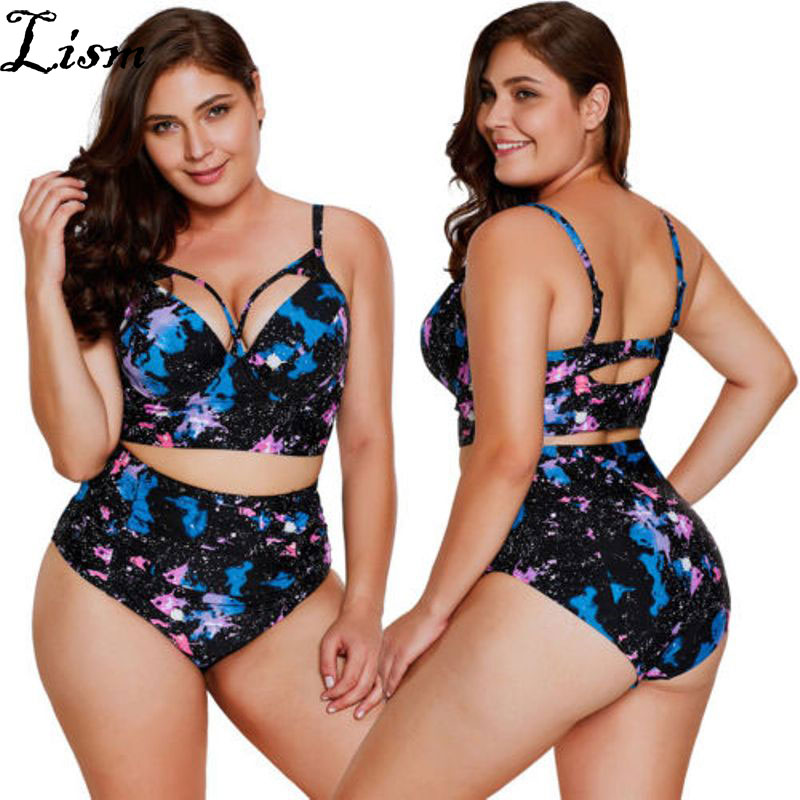 Plus Size Two Pieces Swimwear for Women Tankini <font><b>XL</b></font> <font><b>XXL</b></font> 4XL Bandage Cut Out Swimsuit High Waisted Modest <font><b>Bikini</b></font> Set Flower Print image