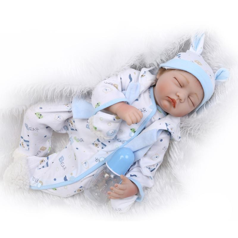 55cm The new soft silicone reborn baby doll toys close eyes sleeping newborn boys babies brithday gift play house bedtime toy avoid the ultraviolet radiation with the canopy pushchair baby build a safe soft environment for babies boys and girls pushchair