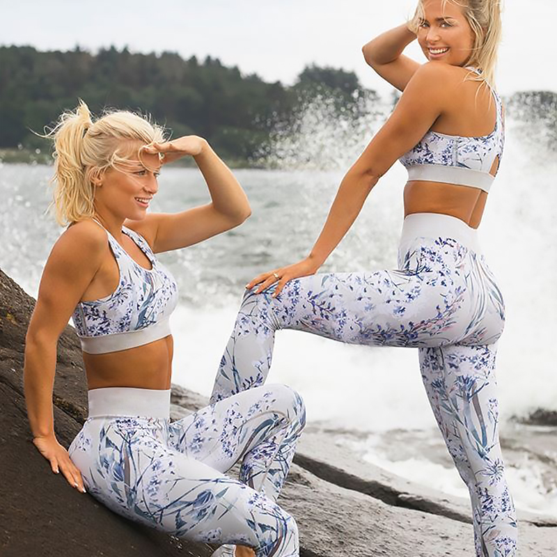 Women New Print Yoga Sets Sleeveless Top Running Leggings Girl Fitness Sportswear Workout Sports Suit Outdoor Gym Slim Clothing