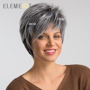 Image 4 - Elemento 6 pulgadas sintético corto recto gris mezcla de pelucas de Color blanco línea pelucas de pelo Natural de trabajo de fiesta para mujeres blancas/negras