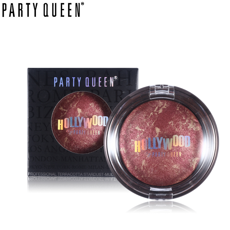 Party Queen 14g Cheek Makeup Shimmer Bakad Bronzer Blush Palette Makeup Silkeslätt Mineral Natural Cheek Color Bronzer Blusher