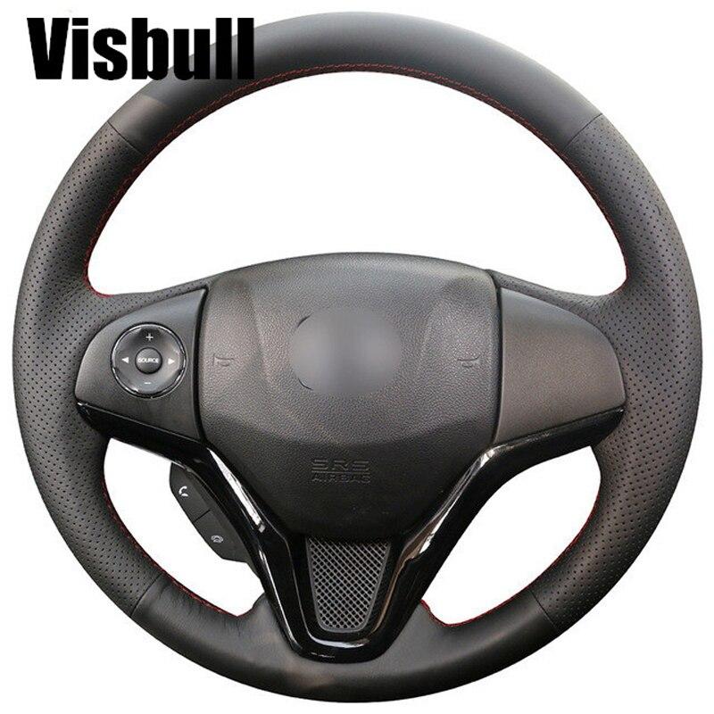 Visbull Black PU Leather Car Steering Wheel Cover V1068 for Honda New Fit City Jazz 2014 2015 HRV HR-V 2016 Vezel 2015-2017