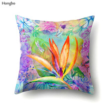 Hongbo Tropical Green Plant Leaves Paradisaeidae Flower Polyester Pillow Case For Car Sofa Chair Seat