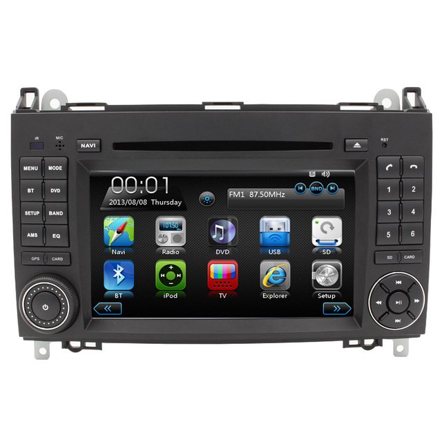 HD tela de toque de capacitância PODE ÔNIBUS DVD PLAYER DO CARRO para mercedes B200 bluetoth navegação GPS controle volante mapa livre RDS