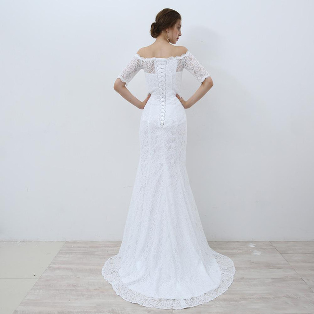 White Lace Boho Mermaid Wedding Dresses Half Sleeves Off The Shoulder Beach Bridal Dresses Elegant Wedding Gowns