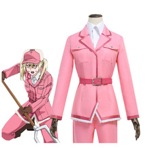 Anime Hataraku Saibou Cosplay Costume Cells At Work Eosinophils Sweet Pink Full Sets Uniform for Women Costumes