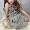 Infant Girl Grey Chiffon Dress,Shabby Chic Lace Petti Dress,Birthday Photography Prop Outfit,Flower Girl Dresses