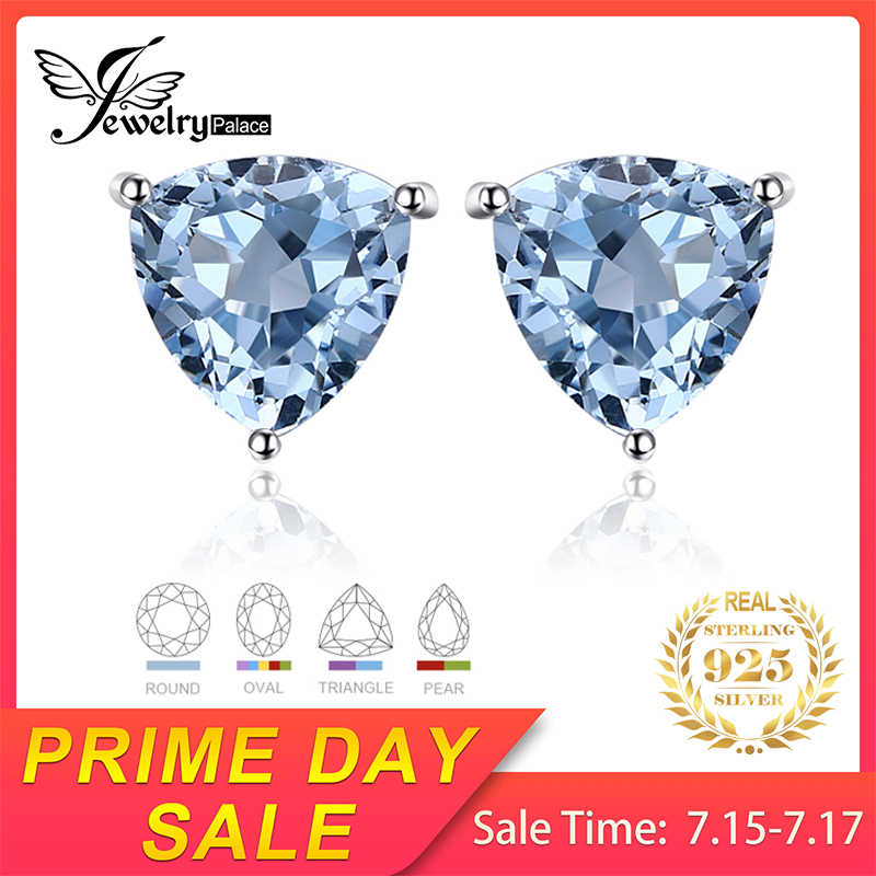 JewelryPalace Natural Blue Topaz Amethyst Citrine Peridot Garnet Stud Earrings 925 Sterling Silver Earrings Jewelry for Women