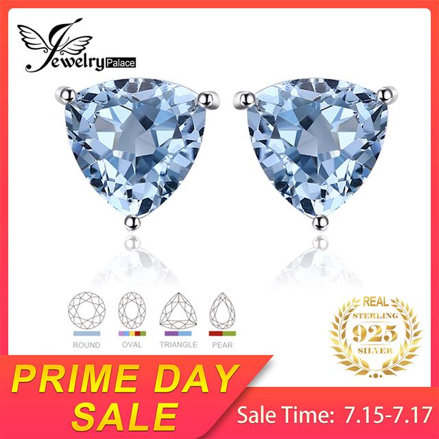 Natural Blue Topaz Stud Earrings