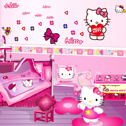 1 Set DIY Lovely Hello Kitty Wall Stickers For Kids Room Girls Bedroom Wall  Decals Removable