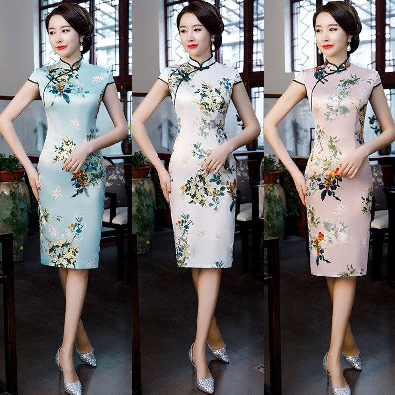 2019 New Arrival Satin Women Qipao Elegant Chinese Style Floral Knee-length Dress Oriental Cheongsam Vestido Oversize 3xl