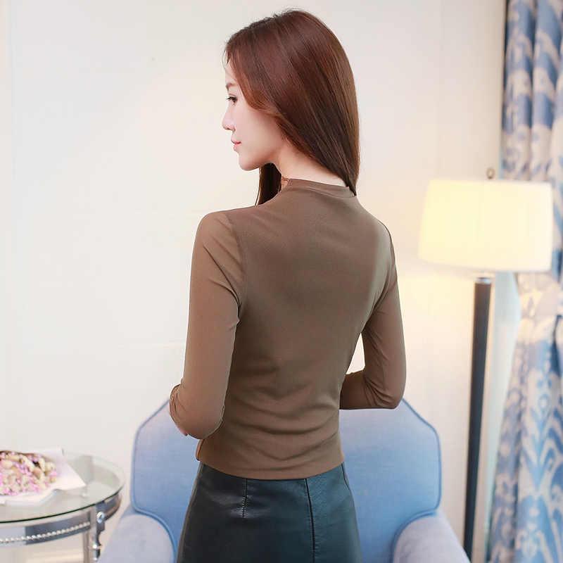 Женские сексуальные блузки, рубашки для работы, модные повседневные кружевные топы с длинным рукавом, женские топы, Осенние сетчатые рубашки, топы, футболки размера плюс
