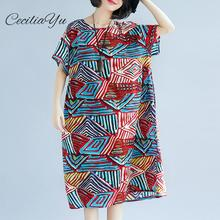 New Big Size In Summer Dresses Of  Fat Mm Slim Stripe Short Sleeve Cotton And Hemp Dress For Women Vintage Ceciliayu