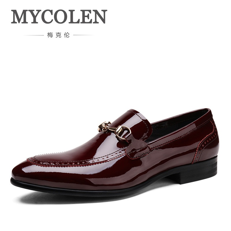 MYCOLEN Fashion Leisure Mens Dress Shoes Genuine Patent Leather Black Wine Red Pointed Toe Wedding Male Shoes Herenschoenen crocodile grain wine red black pointed toe dress shoes mens business shoes genuine leather formal man wedding shoes