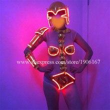 С подсветкой Sexy Lady DS костюм Костюмы свет до растет LED DJ вечернее платье с шлем костюм Для женщин Одежда для танцев