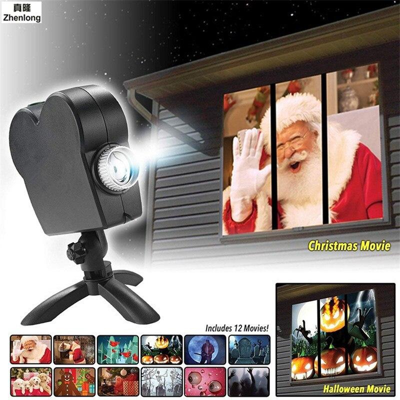 جهاز عرض للنافذة لعيد الميلاد والهالويين أضواء كاشفة Led مصباح إسقاط لعيد الميلاد هدايا للأطفال مهرجان شبح سانتا كلوز-في تأثير إضاءة المسرح من مصابيح وإضاءات على