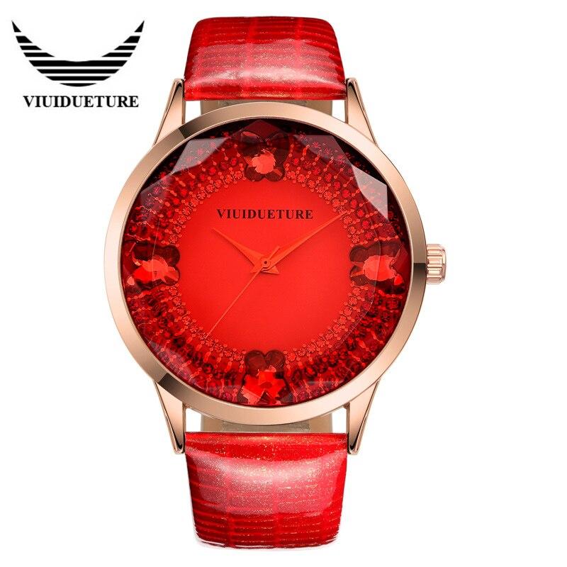 2016 Brand Luxury Woman Wrist watches VIUIDUETURE Leather Waterproof Fashion Casual Quartz Watch Relogio Masculino Relojes