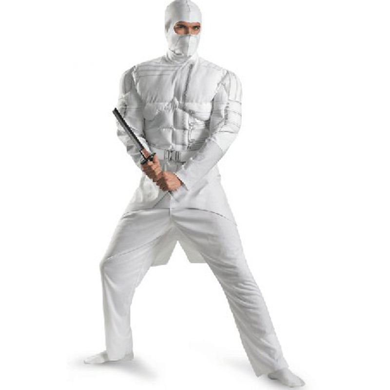 Halloween party Cosplay clothing Adult men G I Joe Snake Eyes white ninja muscle costume jumpsuit