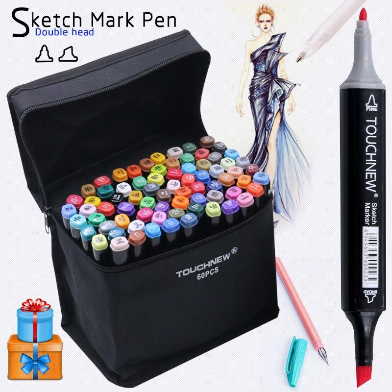 TOUCHNEW 168 Colori Pennarello Arte Disegno Artista Dual Head Copic Schizzo Set Pennello Penna Acquerello Inchiostro Fodere Per disegno