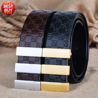 2016 New Design Embossed Pattern Genuine Leather Luxury Brand Belt For Men Trousers First Layer Brass