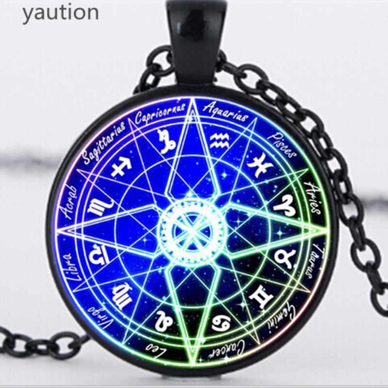 Azul pentagrama wiccan colar de vidro prata corrente constelação colares encantos bola azul pingente de vidro jóias bijouterie