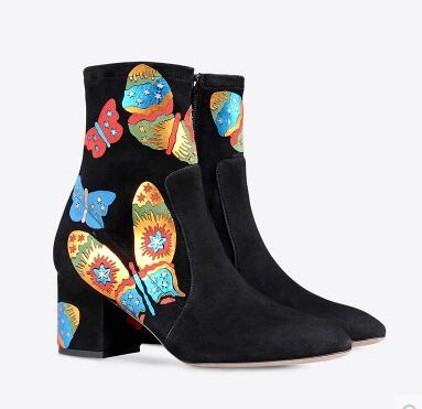 2017 Winter Women Ankle Appliques Boots Butterfly Shoes embroidery leather booties thick heel party shoes fashion bota box heel