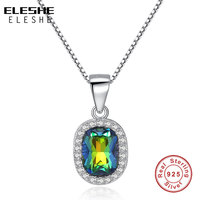 ELESHE Luxury Rainbow Fire Mystic Oval Necklace Pendant Solid 925 Sterling Silver Vintage Jewelry With Link Chain for Women