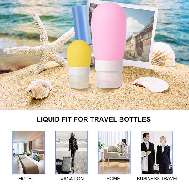 1pc 38ml 60ml 80ml Portable Silicone Refillable Bottle Empty Travel Packing Press For Lotion Shampoo Cosmetic Squeeze Containers