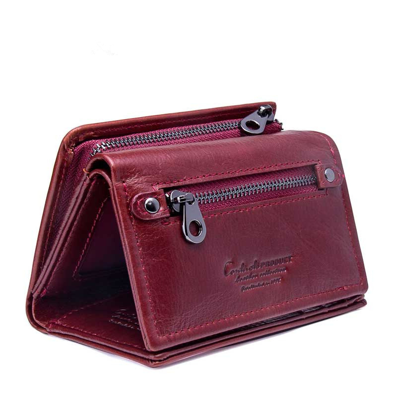 Women Genuine Leather Wallet Female Zipper and Hasp Coin Credit Card Holder Red Trifold Wallet Purse Gift for Women fsinnlv genuine leather wallet for women zipper
