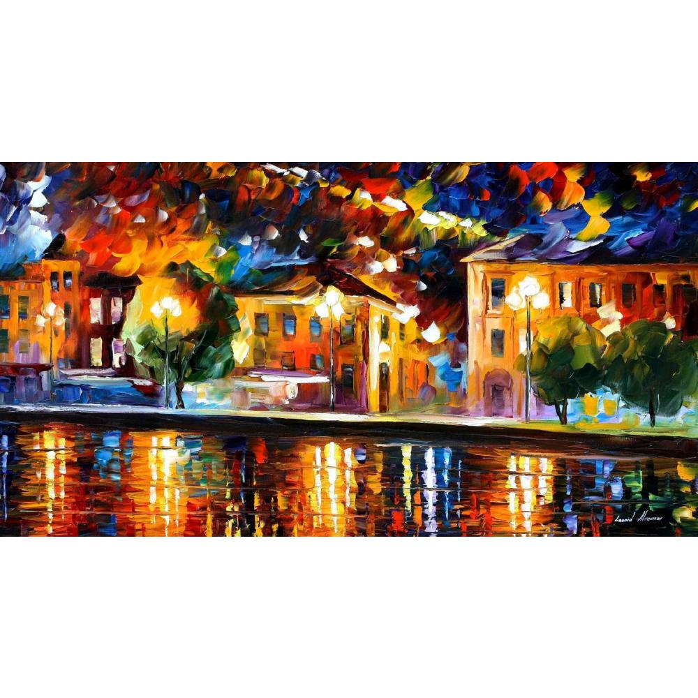 Modern landscape palette knife canvas oil paintings river shore for wall art home decor