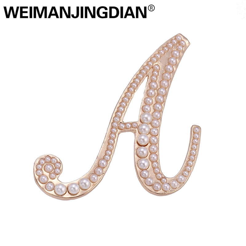 Detail Feedback Questions about WEIMANJINGDIAN New Arrival Simulated Pearl  Letter A Brooch Pins for Lady in Gold Color Plated on Aliexpress.com  9a4da212d2f6