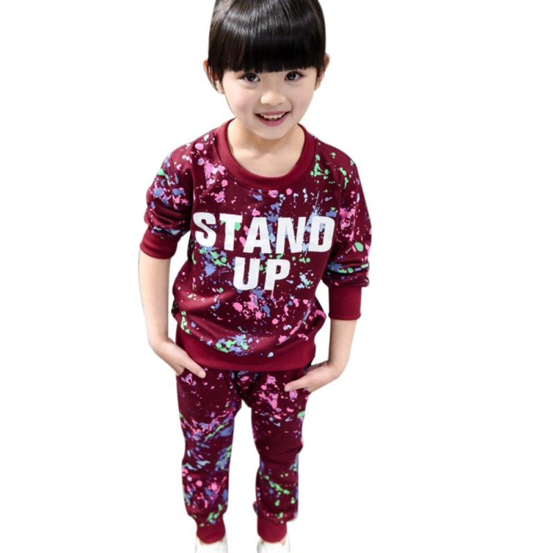 2Pcs/Sets Autumn Children Baby Girl Set Leisure Sports Suits Kid Colorful Graffiti Letter Long Sleeved Sweatshirt +Pants Outfits